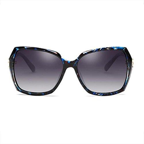 Femeninas de Elegante color Redonda Glasses Color UV de Sol Cara Gafas Sol Larga Morado de Polarizer Cara Oscuro Face Resina HLMMM Protección Big Floral Gafas cuadradas 4f0ntC