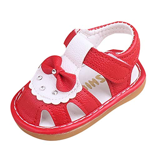 Tantisy ♣↭♣ Baby Girls Little Princess Sandals Bowknot Hollow Out Round Toe Comfy ToInfant First Walker Shoes Red