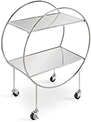 Kate and Laurel Dhuri Modern Bar Cart, 27 x 16 x 34, Silver, Versatile Glamorous Home Decor for Serving and St
