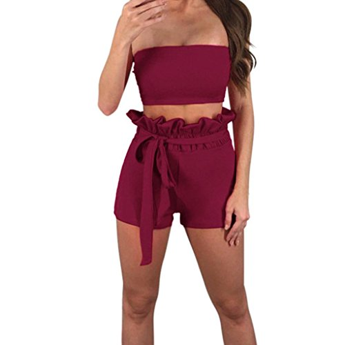 Farjing Women's Blouse Clearance,Sexy Women Off The Shoulder Sleeveless Vest Blouse + Shorts Two-Piece Outfit(2XL,Wine)