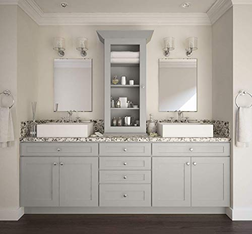 - Shaker Dove Light Grey Cabinet Solid Wood Construction Diagonal Corner Wall Cabinet WDC for Kitchen Bath or Laundry