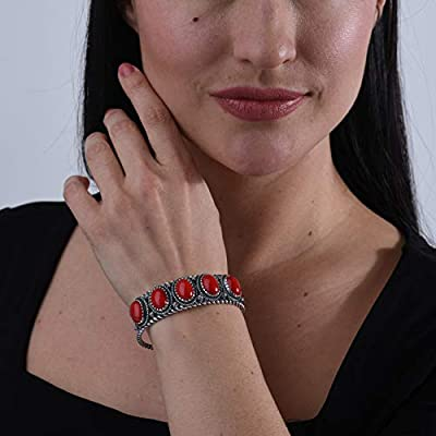 American West - Sterling Silver & Five Stone Cuff Bracelet - Small to Large - Classics Collection