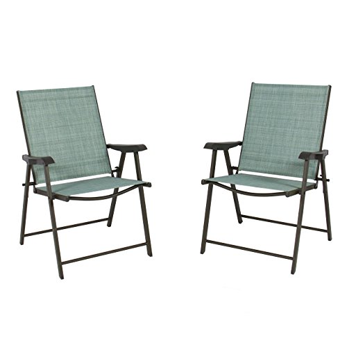 Sling Chair Set (Best Choice Products Set of 2 Folding Chairs Sling Bistro Set Outdoor Patio Furniture Space)