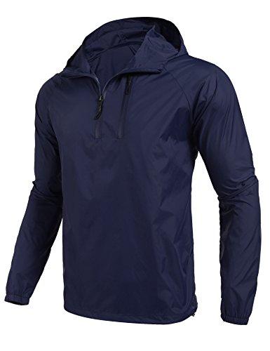 Coofandy Chaqueta Impermeable Hombre Outdoor Montañismo con Capucha de Viento Azul Marino