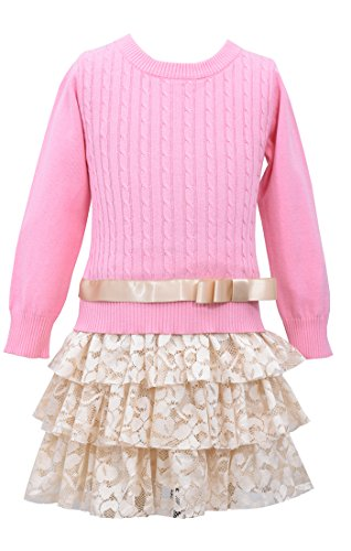 Bonnie Jean Big Girls' Cable Knit Sweater Dress with Tiered Skirt, Coral, 10