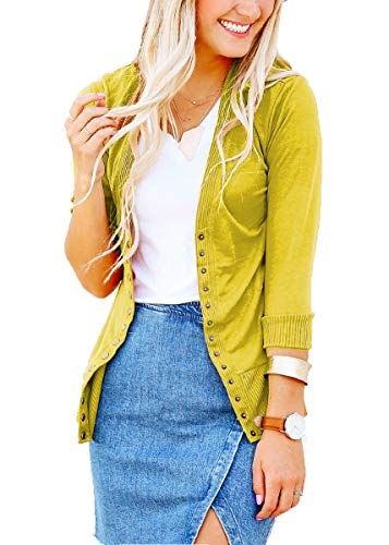 (JNTOP Women's 3/4 Sleeve Snap Button Cardigan Sweater Wasabi Medium)