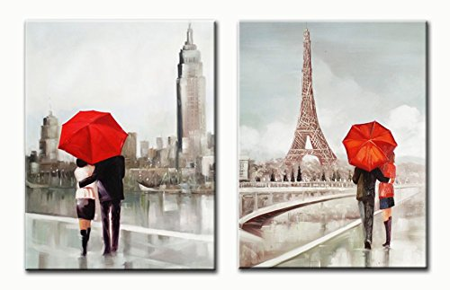 Genius Décor Modern Black White and Red Canvas Wall Art, Red Umbrella Couple New York Paris Romantic Canvas Art Decoration Set