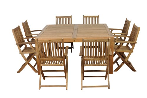 Amazonia Teak Dubai 9-Piece Teak Square Dining Set (Contemporary Garden Furniture Dubai)