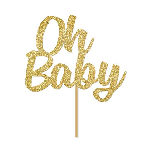 Gold Glitter Oh Baby Cake Topper, Script, Baby Shower, Gender Reveal, Sip and See
