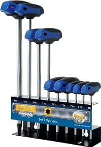 Heyco/Heytec 50813470080 - Juego de destornilladores  (cromo vanadio, T10-T50, incluye soporte de metal, mango en T)