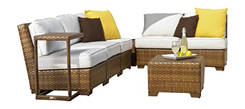 Panama Jack Outdoor 8-Piece St Barths Modular Sectional with Cushions Set, Includes 5 Armless Chairs, 1 End Table and 2 Coffee Table with Umbrella Hole
