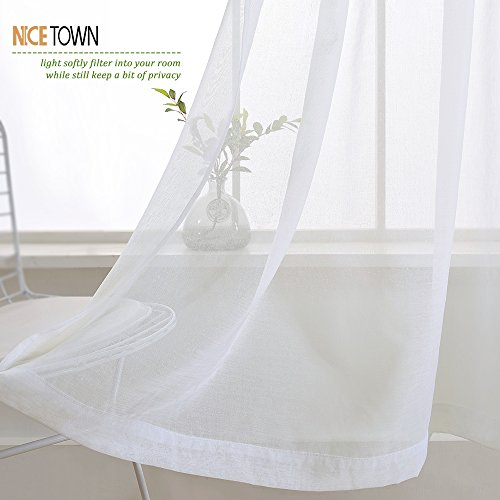 NICETOWN Sheer Curtains Linen Textured - Country Style Home Decor Bedroom Window Privacy Translucent Voile Sheer Drapes for Kid Room, 63 Inch Long, White by NICETOWN (Image #6)