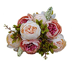 "Artificial Peony Silk Flowers Bouquet 18.5"" for Mother's Day,Home Party Wedding Decoration (Pink) 60"