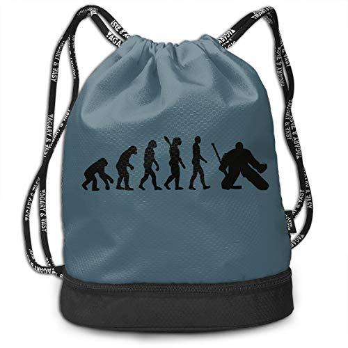 (Create Magic Evolution Hockey Goalie Drawstring Backpack Sports Athletic Gym String Bag Cinch Sack Gymsack Sackpack With Water Bottle Mesh Pockets)
