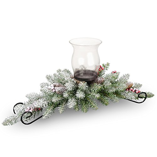 National Tree 30 Inch Dunhill Fir Centerpiece with 9 Cones, 6 Red Berries, 1 Candle Holder and Snow (DUF3-800-30C-A1)