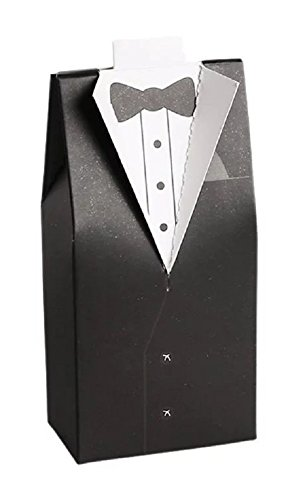 10pc Set of Groom Tuxedo Wedding Party Favor Boxes - Bridal Candy Gift Guests Bachelor Groomsmen Best Man Shower Rehearsal Anniversary