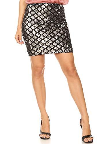 Anna-Kaci Womens Vegas Night Out Sleek Stretch Shiny Sequin Mini Pencil Skirt, Silver, ()