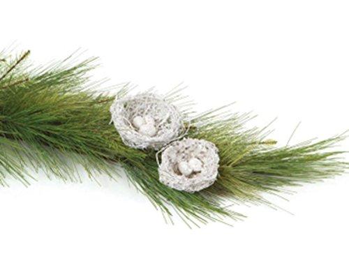 "UPC 762152167252, Pack of 24 White Glittered Twig Bird Nest w/Eggs Christmas Decorations 4"" - 4.5"""