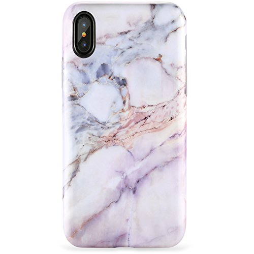 ,iPhone XS Case,Slim Fit Cute Pink Marble for Girls Women Clear Bumper Soft Silicone TPU Thin Cover Best Protective Phone Case for iPhone X/XS[5.8