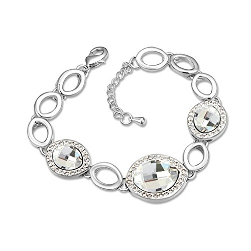 Beydodo White Gold Plating Bracelet For Women (Link-Bracelets),Austria Crystal White Cubic Zirconia (Long Link Stampato Bracelet)