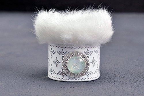 ice-queen-bracelet-lampwork-bracelet-leather-bracelet-white-bracelet-fur-bracelet-ice-bracelet-silve