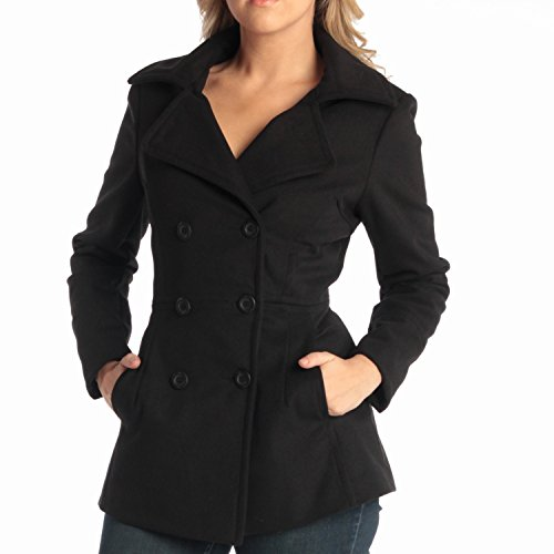 alpine swiss Emma Womens Black Wool 3/4 Length Double Breasted Peacoat Large