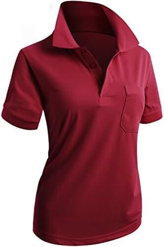 CLOVERY Women's Casual 3-Button Short Sleeve PK POLO Shirts