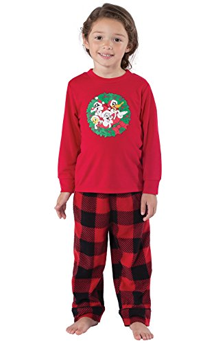 PajamaGram Looney Tunes Long Sleeve Plaid Fleece Toddler Pajamas, Red/Black, 2T