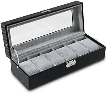6 Slot Carbon Fiber Watch Box Jewelry Display Storage Case with Lock, Key, and Viewing Window