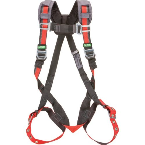 MSA Safety 10105956 EVOTECH Harness with Back D-Ring, Tongue Buckle Leg Straps, Qwik-Fit Chest Strap, Shoulder Padding, Standard
