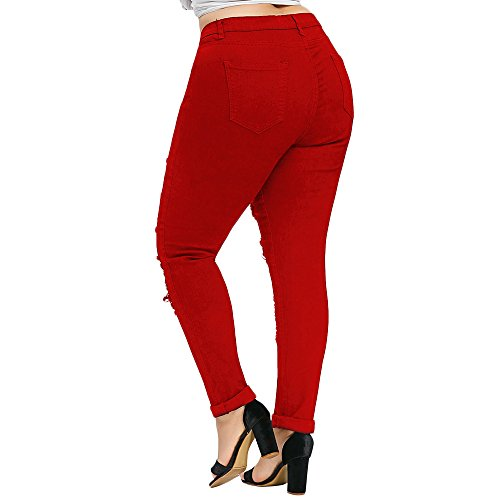 Cinque Tasche Estate 2018 Stretti Pantalone Pants Jeans Pantaloni Moda Rosso Donna Plus Brandelliaderenti Size Elasticizzati Blu A Women qxFwPSFUYv