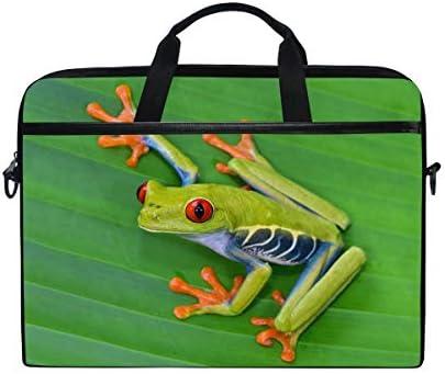 WXLIFE Animal Frog Green Leaf Leaves 13 13.3 14 Inch Laptop Shoulder Messenger Bag Case Sleeve Briefcase with Handle Strap for Men Women Boys Girls