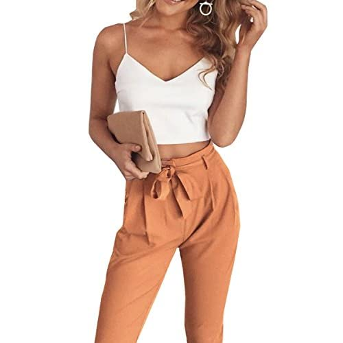 Nice FANCYINN Women 2 Pieces Outfit Spaghetti Strap Top and Bodycon Long Pant with Belt for cheap