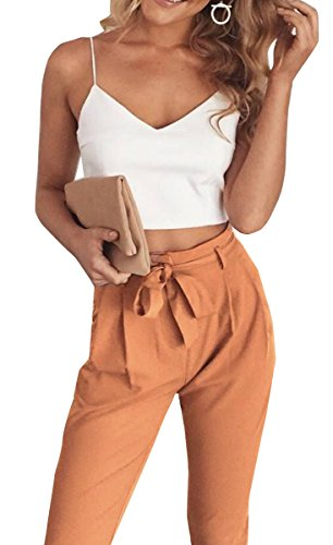 FANCYINN Women 2 Pieces Outfit Spaghetti Strap Top and Bodycon Long Pant with Belt L
