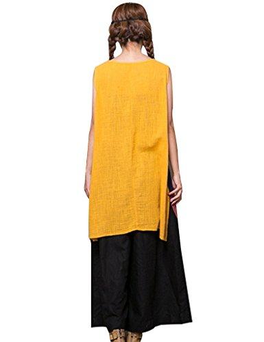 Youlee Mujer Algodón Lino vestidos de verano Sin mangas Vestir para Verano Style 2