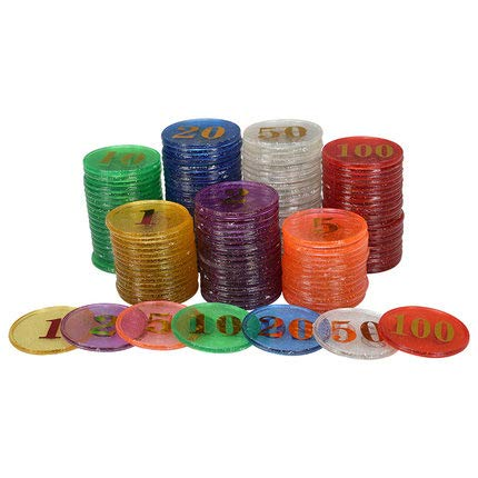 40PCS/Lot 38mm Special Bling Transparent Count Plastic Poker Chips Large Small Numbers Chips for Gaming Tokens Coins