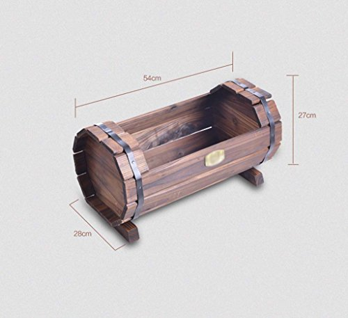 AIDELAI Wooden flower car flower frame carbonized wood preservative outdoor flower bowl flower pot flower pot Patio Garden Pergolas ( Style : B ) by AIDELAI