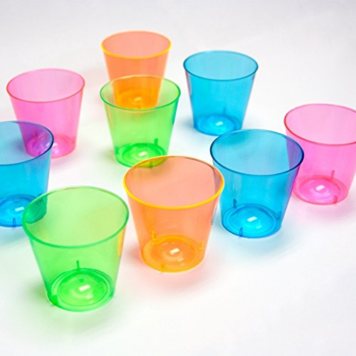 300 Count Neon 1 Ounce Hard Plastic Shot Glasses By Kovot