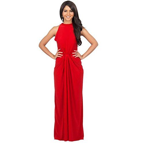 Women Lace Backless Sleeveless Waisted Cocktail Dress Red - 8