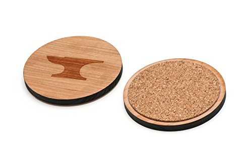 Anvil Coaster Set - WOODEN ACCESSORIES CO Wooden Coaster Set With Laser Engraved Anvil Design - Set of 4 Laser Cut Coasters - Cherry Wood Round Wooden Coasters - Made In The USA