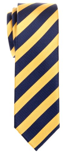 (Retreez Exquisite Regimental Stripe Woven Microfiber Skinny Tie - Navy Blue and Yellow)