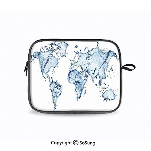 13inch Laptop Sleeve,World Water Map with Splash Design on Clear Background Planet Climate Change Print Notebook Bag Compatible MacBook Air/Retina 13 Inch/2016 New Retina 13