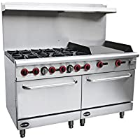 Heavy Duty Commercial 60 Gas 6 Burner Range with 24 Gas Griddle & Bottom Oven