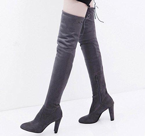Stiefel High Faux Hohe Slim Frauen DEELIN Stretch Heels Overknee Schuhe Grau Stiefel R7gCq