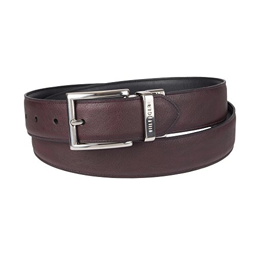 (Tommy Hilfiger Reversible Leather Belt - Casual for Mens Jeans with Double Sided Strap and Silver Buckle , burgundy/black, 44 )