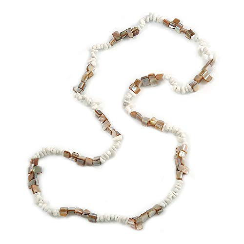 Avalaya Stylish Snow White Semiprecious Stone, Antique White Sea Shell Nugget Necklace - 86cm Long (Nugget Pearl Long Necklace)
