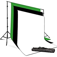 10 x 8.5 FT. Background Muslin Backdrop Support System with 9 x 13 FT. Black, White, Green Backdrop Muslin, Photo / Video Studio Kit, PR03_AM1