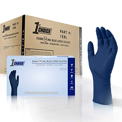 1st Choice Blue Latex 14-Mil Thick Disposable Gloves, Case of 500 – Heavy Duty, Chemical Resistant, Medical/Exam Grade, Powder-Free, Nitrile-Free by 1st Choice