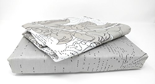 DaDa Bedding Floral Flat Sheet-3-Pieces-Queen-Jacquard Leaves Paisley Cotton-w/Pillow Cases White Grey Set, Queen