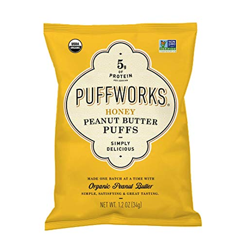 Puffworks Single-Serve Organic Peanut Butter Puffs, Honey (Pack of 12) | USDA-Organic | Kosher | Non-GMO | Gluten-Fre